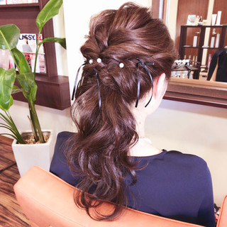 波ウェーブ ヘアアレンジ ハーフアップ 上品 ヘアスタイルや髪型の写真・画像