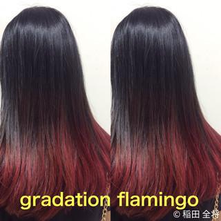 レッド ロング ヘアカラー グラデーションカラー ヘアスタイルや髪型の写真・画像