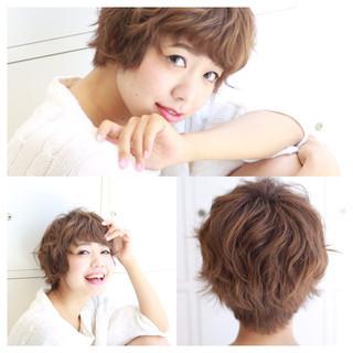 ゆるふわ フェミニン ショート 外国人風 ヘアスタイルや髪型の写真・画像