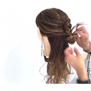 編み込み ヘアアレンジ 上品 女子会 ヘアスタイルや髪型の写真・画像