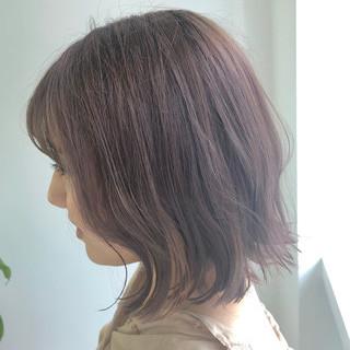 ボブ 切りっぱなしボブ ミニボブ 艶カラー ヘアスタイルや髪型の写真・画像