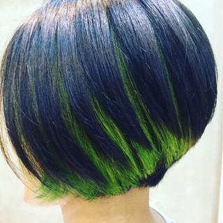 ハイライト 黒髪 モード グラデーションカラー ヘアスタイルや髪型の写真・画像 ヘアスタイルや髪型の写真・画像