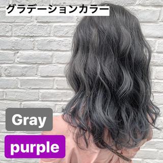 ストリート アッシュグレージュ グレージュ セミロング ヘアスタイルや髪型の写真・画像