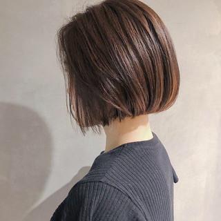 ナチュラル デート ボブ ショコラブラウン ヘアスタイルや髪型の写真・画像