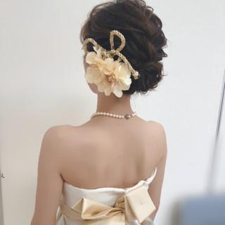 ヘアセット ブライダル ボブ フェミニン ヘアスタイルや髪型の写真・画像