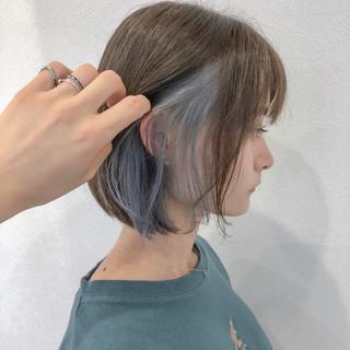 夏 インナーカラー インナーカラーホワイト ボブ ヘアスタイルや髪型の写真・画像