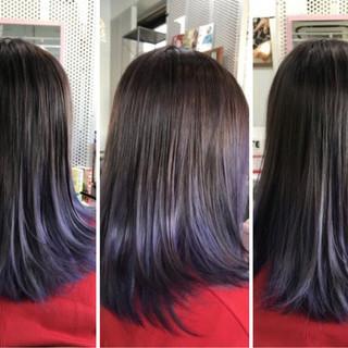 暗髪 ミディアム 切りっぱなし ストリート ヘアスタイルや髪型の写真・画像