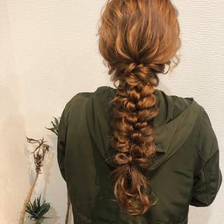ヘアアレンジ フェミニン ロング 編みおろしヘア ヘアスタイルや髪型の写真・画像