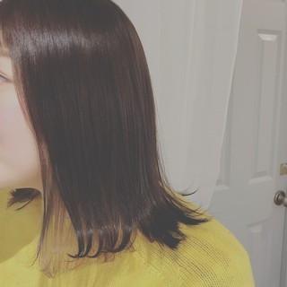 冬 ミディアム 外ハネ デート ヘアスタイルや髪型の写真・画像