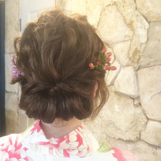 花火大会 お祭り 和装 ヘアアレンジ ヘアスタイルや髪型の写真・画像