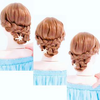 ヘアアレンジ ロング フェミニン 三つ編み ヘアスタイルや髪型の写真・画像