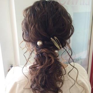 結婚式ヘアアレンジ ヘアセット ナチュラル セミロング ヘアスタイルや髪型の写真・画像