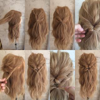 簡単ヘアアレンジ ハーフアップ ゆるふわ ロング ヘアスタイルや髪型の写真・画像
