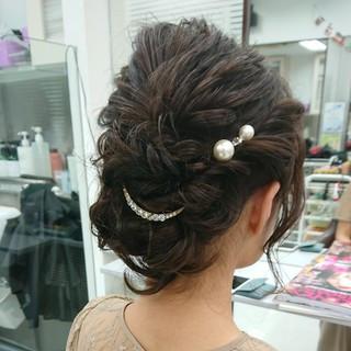 大人女子 結婚式ヘアアレンジ ヘアセット ミディアム ヘアスタイルや髪型の写真・画像