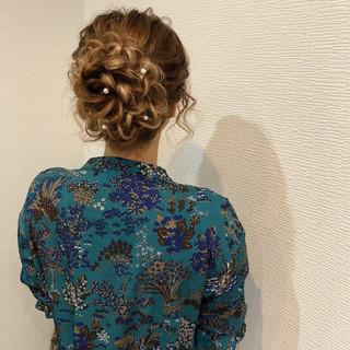 フェミニン 和装 アップスタイル 花 ヘアスタイルや髪型の写真・画像 ヘアスタイルや髪型の写真・画像