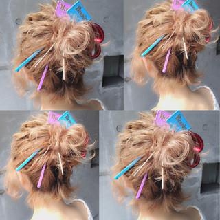 ミディアム 簡単ヘアアレンジ ヘアアレンジ 夏 ヘアスタイルや髪型の写真・画像