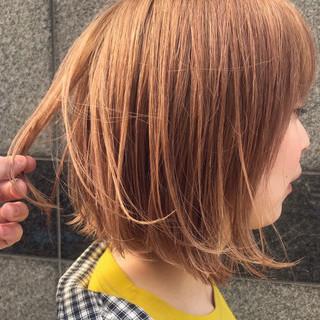 ナチュラル ボブヘアー ボブ オレンジカラー ヘアスタイルや髪型の写真・画像