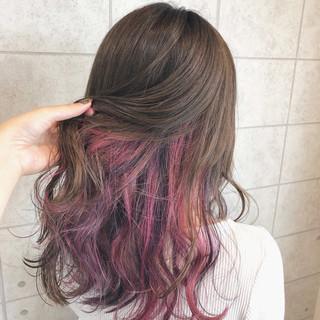 フェミニン セミロング ユニコーンカラー イルミナカラー ヘアスタイルや髪型の写真・画像
