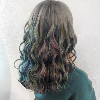 ユニコーンカラー グラデーションカラー モード ミディアム ヘアスタイルや髪型の写真・画像