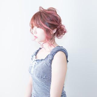 ラベンダーピンク ミディアム ガーリー ピンク ヘアスタイルや髪型の写真・画像