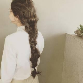 モード ヘアアレンジ ロング 編み込み ヘアスタイルや髪型の写真・画像
