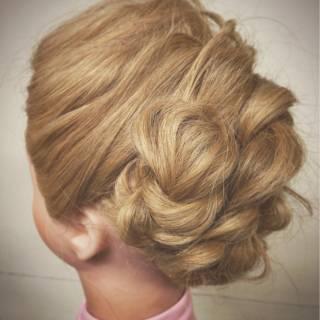 編み込み セミロング ゆるふわ 外国人風 ヘアスタイルや髪型の写真・画像