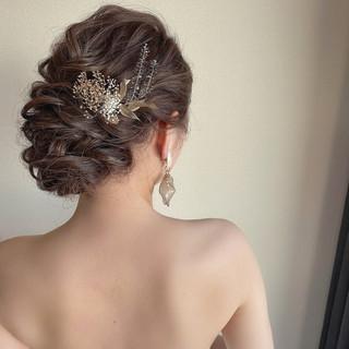 花嫁 シニヨン ロング 二次会ヘア ヘアスタイルや髪型の写真・画像