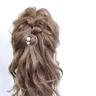 大人かわいい ハーフアップ ショート セミロング ヘアスタイルや髪型の写真・画像