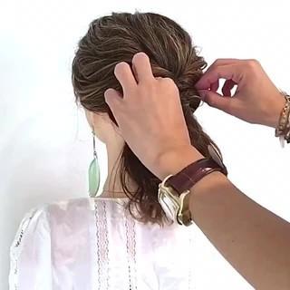 ヘアアレンジ 簡単ヘアアレンジ ボブ フェミニン ヘアスタイルや髪型の写真・画像