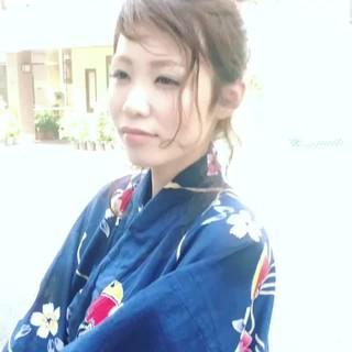 ナチュラル 簡単ヘアアレンジ 夏 和装 ヘアスタイルや髪型の写真・画像