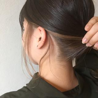 インナーカラー 黒髪 ミディアム デート ヘアスタイルや髪型の写真・画像