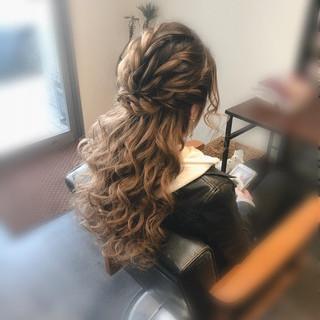 ロング ブライダル ハーフアップ ヘアセット ヘアスタイルや髪型の写真・画像