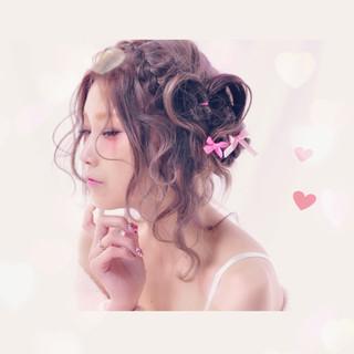 ゆるふわ ヘアアレンジ 簡単ヘアアレンジ フェミニン ヘアスタイルや髪型の写真・画像