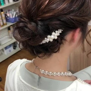 二次会ヘア 結婚式 ヘアアレンジ ボブ ヘアスタイルや髪型の写真・画像