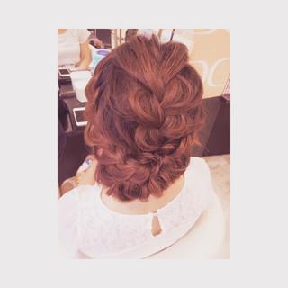 大人かわいい ルーズ 編み込み アップスタイル ヘアスタイルや髪型の写真・画像