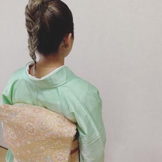 ナチュラル 浴衣アレンジ ミディアム 浴衣ヘア ヘアスタイルや髪型の写真・画像