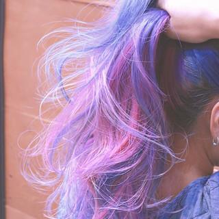 グラデーションカラー バレイヤージュ ハイライト ロング ヘアスタイルや髪型の写真・画像