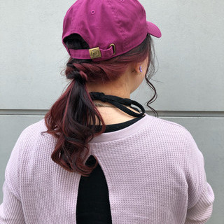 インナーカラー ヘアアレンジ スポーツ ピンク ヘアスタイルや髪型の写真・画像