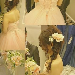 結婚式 ブライダル ゆるふわ ヘアアレンジ ヘアスタイルや髪型の写真・画像