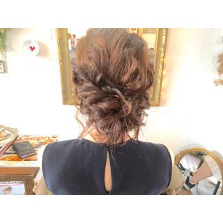ヘアアレンジ 夏 編み込み ミディアム ヘアスタイルや髪型の写真・画像