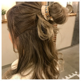 ショート 簡単ヘアアレンジ ニュアンス セミロング ヘアスタイルや髪型の写真・画像