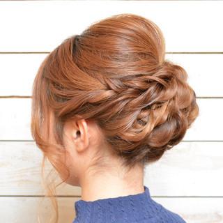 編み込み アップスタイル ねじり ヘアアレンジ ヘアスタイルや髪型の写真・画像