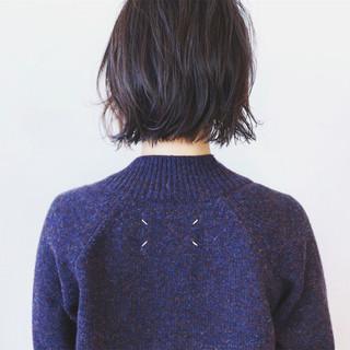 ミニボブ 黒髪 パーマ 切りっぱなしボブ ヘアスタイルや髪型の写真・画像