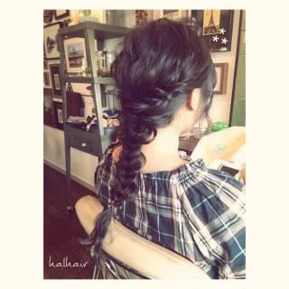 フィッシュボーン セミロング ヘアアレンジ 黒髪 ヘアスタイルや髪型の写真・画像