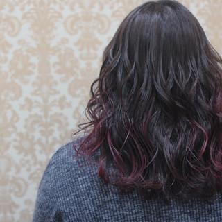 グラデーションカラー ミディアム ガーリー 外国人風 ヘアスタイルや髪型の写真・画像