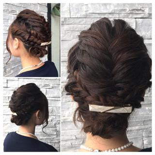 セミロング フィッシュボーン ヘアアレンジ くるりんぱ ヘアスタイルや髪型の写真・画像 ヘアスタイルや髪型の写真・画像