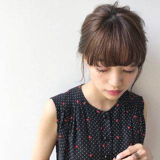 ミディアム ヘアアレンジ 色気 夏 ヘアスタイルや髪型の写真・画像