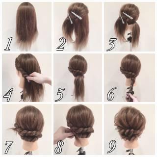 編み込み ヘアアレンジ 簡単ヘアアレンジ ロング ヘアスタイルや髪型の写真・画像