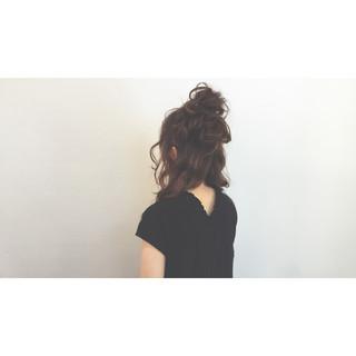 ヘアアレンジ ハーフアップ ゆるふわ アッシュ ヘアスタイルや髪型の写真・画像