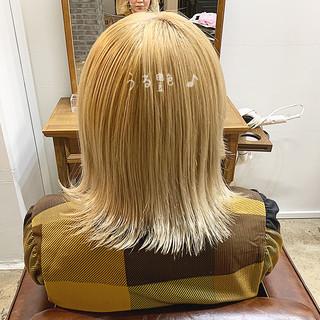 切りっぱなしボブ デート ブリーチオンカラー ボブ ヘアスタイルや髪型の写真・画像